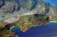 Oahu, Hawaii ~ Aerial view of the Southeast Shoreline. Hanauma Bay, Koko Head Crater, Koko Marina & Hawaii Kai, Sandy Beach.