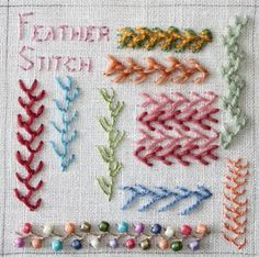 Feather stitch variations, including beaded, threaded and doubled.