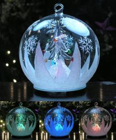 LED Clear Glass Globe Christmas Ornament Holiday Gift