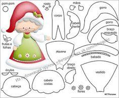 Felt Christmas Decorations, Christmas Ornament Crafts, Felt Ornaments, Christmas Art, Felt Crafts, Christmas Crafts, Christmas Gnome, Theme Noel, Christmas Templates