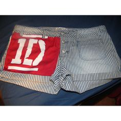 One Direction Up All Night/ 1D Logo Striped Shorts ($30) ❤ liked on Polyvore
