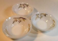 3 Federal Glass Golden Glory Soup Cereal Bowls Heat Proof Dinnerware 1957 USA | eBay