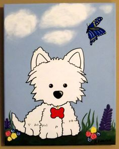 Westie Dog Canvas Art - Original Acrylic Painting