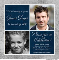 navy blue and sliver birthday invations | Navy 40th Birthday Invitation - Silver Gray Two Photos Milestone