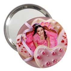 """pink cookie hearts mirror by Ivelyn - 3"""" Handbag Mirror Insert your own photos"""