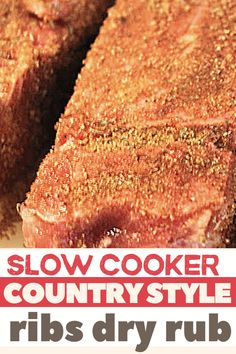 These Slow Cooker Country Style RIbs are a family favorite. One of the MOST popular recipes on our site, the meat falls off the bones. Crock pot perfection! Country Ribs Slow Cooker, Country Ribs Recipe, Slow Cooker Ribs Recipe, Slow Cooked Ribs, Short Ribs Slow Cooker, Country Style Pork Ribs, Slow Cooker Recipes, Crockpot Recipes, Cooking Recipes