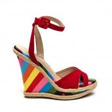 Sandália Anabela Vermelha Salto Colorido