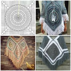Tuto : poncho crochet - pimp ta life collage Learn the rudiments of how to needlecraft (generic term Poncho Au Crochet, Mode Crochet, Crochet Poncho Patterns, Crochet Shawls And Wraps, Crochet Girls, Crochet Chart, Crochet Granny, Crochet Stitches, Knit Crochet