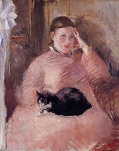 """""""Woman With a Cat"""" by Édouard Manet. Manet drew this pastel piece late in his career, around He was a key figure in the birth of the artistic movement known as impressionism. Pierre Auguste Renoir, Edouard Manet, Monet, She And Her Cat, Hans Baldung Grien, Art Gallery, Degas, Famous Artists, Cat Art"""