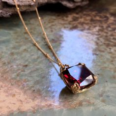 Gold Jewelry Simple, Cute Jewelry, Jewelry Accessories, Unique Jewelry, Jewlery, Garnet Jewelry, Garnet Necklace, Gold Necklace, Gemstone Jewelry
