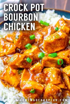 Crock Pot Bourbon Chicken! A simple recipe for a take-out classic, this slow cooker bourbon chicken is flavored with soy sauce, brown sugar, ginger, garlic, apple, and bourbon whiskey. | HomemadeHooplah.com
