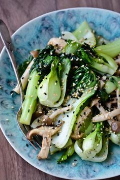 sesame shiitakes and bok choy