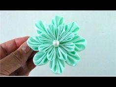 ▶ Flores flowers Kanzashi ribbons de 16 pétalos en cintas para el cabello - YouTube