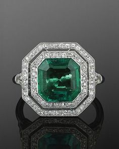 FRED LEIGHTON Colombian Emerald and Diamond Ring, circa 1915.