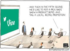 """9-2-2013 """"Short Attention Span Marketing"""" cartoon > Post: """"Marketers are increasingly challenged to create short-form media.  Some of this shift is driven by new standards. Facebook will start offering 15-second video ads this Fall. Instagram video is capped at 15 seconds and Vine from Twitter is capped at only six seconds.  But the underlying driver is the vanishing attention span. """""""