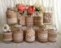 burlap lace mason jars | Wedding - rustic burlap and lace covered mason jar vases