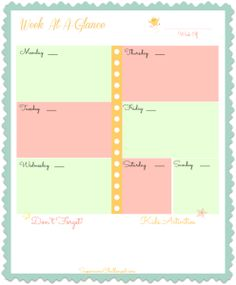 Free Weekly Planner Printable- you can even frame this and use a dry erase marker so you only have to print it once : )