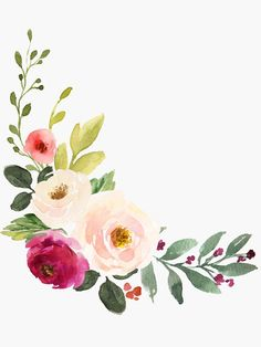 Watercolor Burgundy Pink Flower Bouquet by junkydotcom