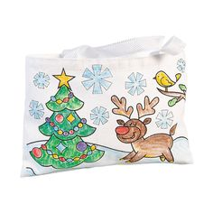 Color Your Own Christmas Tote Bags - OrientalTrading.com
