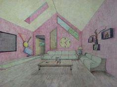 student artwork, 1-point perspective interior design