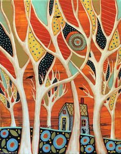 White Trees 11x14 Birds Trees ORIGINAL Canvas PAINTING Abstract FOLK ART Karla G...brand new painting for sale...