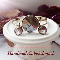 Cabochon Schmuckset Armreif/Armband 25mm und Ohrhänger 12mm Bronze Geometrisch bunt braun Materialmix Optik