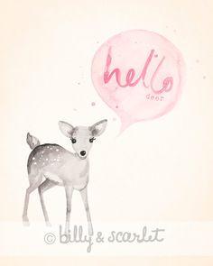 Baby Girl Nursery Decor Hello Deer Print 8x10 - Light Pink Shabby Chic Nursery Decor, Woodland Nursery Watercolour Illustration via Etsy