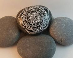 Hand painted mandala Fairy stone