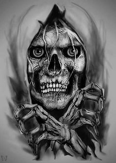 Image in Skulls'n Bones collection by tracey ashdown Grim Reaper Art, Grim Reaper Tattoo, Wild Pictures, Shamrock Tattoos, Monster Pictures, Badass Skulls, 3d Chalk Art, Skull Wallpaper, Scary Clowns