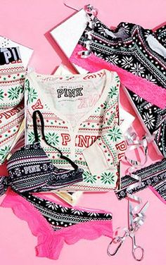 Calling all PINKaholics! These too-cute-for-words holiday pj's will definitely be my go-to gift this year. Obsessed with these comfy festive prints from @vspink. #PINKmas