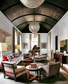 Arched ceiling with dark wood treatment - wow. | Architectural Digest Steven Gambrel