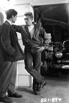 Rebel Without a Cause. James Dean and Sal Mineo on the set of Rebel