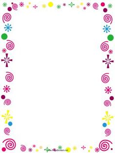 This free, printable border is decorated with pink curlicues and colorful confetti. It's great for party invitations. Free to download and print.: