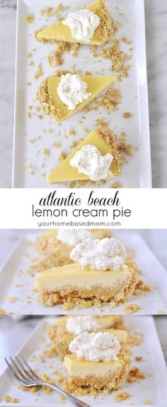 Atlantic Beach Lemon Cream Pie is a delicious dessert with a salty crust and a sweet lemon filling.  A combination that goes together perfectly!