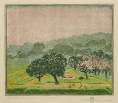 Rainy Day Promenade  Artist  Gustave Baumann [+]  1881 - 1971(biography) Year 1917  Technique color woodcut