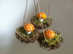 Busy Brownies are making ornaments for the big Forest Christmas Tree! Some their work includes these orange toadstool & moss ornaments... https://www.etsy.com/listing/166521877/set-of-3-handmade-woodland-ornaments?ref=shop_home_feat