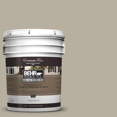 BEHR Premium Plus Ultra 5-gal. #UL190-7 Saturn Gray Flat Exterior Paint-485405 - The Home Depot