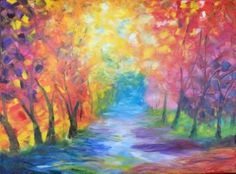 Buy Fall Colors, a Oil on Canvas by Brad Hamilton from United States. It portrays: Seasons, relevant to: pathway, walk path, walking path, fall colors, fall rain This painting is full of colors and serenity.  The sun is shining through the trees to the fall colored pathway.  It appears there was a fresh rain which cause the loose leaves to fall and cover the ground.  Inspired by the teachings of Leonid Afremov and using the palette knife only.