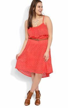 Deb Shops plus-tribal crochet spaghetti strap popover braided belt high low #dress $32.17