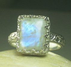 Something blue??    Rainbow Moonstone RIng Sterling Silver by TazziesCustomJewelry