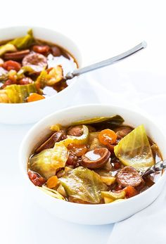 Sausage and Cabbage Soup Smoked Sausage and Cabbage Soup - So hearty and full of smoked sausage and healthy veggies! Smoked Sausage and Cabbage Soup - So hearty and full of smoked sausage and healthy veggies! Healthy Foods To Eat, Healthy Dinner Recipes, Paleo Recipes, Healthy Snacks, Healthy Soups, Chili Recipes, Soup Recipes, Cabbage Recipes, Potato Recipes