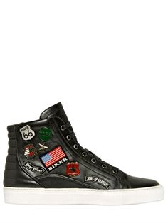 CESARE CASADEI PIN & PATCH LEATHER HIGH TOP SNEAKERS