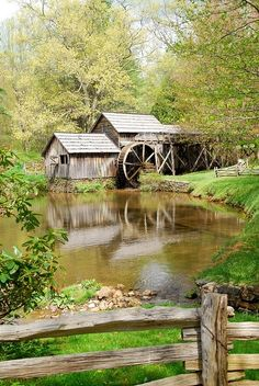 watermill..+ split rail fence + country living + trout pond