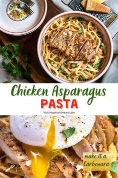 Healthy Pasta Recipes, Grilled Chicken Recipes, Healthy Pastas, Easy Dinner Recipes, Meat Recipes, Turkey Recipes, Chicken Asparagus Pasta, Chicken Carbonara, Creamy Chicken