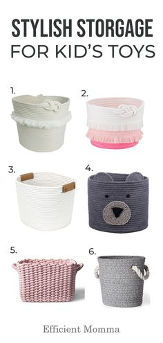Stylish Storage Baskets for Kid's Toys - Efficient Momma Nursery Storage Baskets, Girls Bedroom Storage, Baby Room Storage, Toy Storage Bins, Living Room Storage, Small Storage, Living Rooms, Storage Ideas, Bedroom Kids