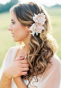 wedding hair with flowers, floral hair accessories for brides - bridal hair with silk floral hair piece