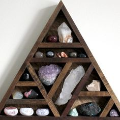 Magical Handmade Home Decor and Crystal Shop Diy Crystals, Crystals And Gemstones, Wood Shelves, Display Shelves, Salvaged Wood Projects, Crystal Holder, Crystal Shelves, Triangle Shelf, Zen Room