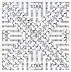 Crochet granny square: easily customisable to any size.interesting ideas for decor crochet Crochet Motif Patterns, Crochet Blocks, Square Patterns, Crochet Diagram, Crochet Chart, Crochet Squares, Crochet Granny, Filet Crochet, Crochet Doilies