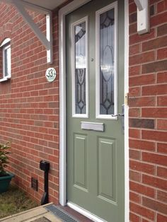 Front Door Painted in Little Greene's 'Sage Green' sent in by Twitter - @ashbydeccentre