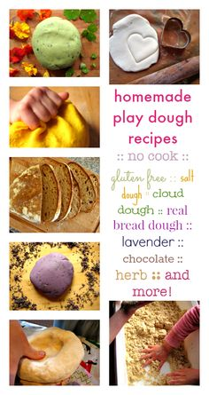 Homemade play dough recipes :: no cook :: gluten free play dough recipe :: cloud dough recipe :: salt dough recipe :: more!